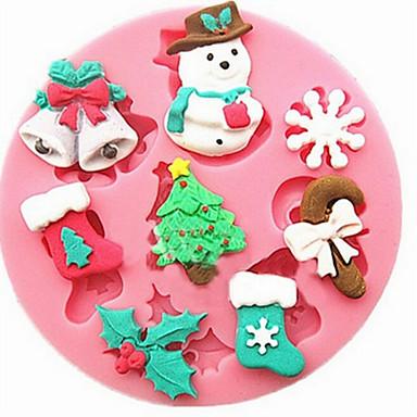 sütőformát Cartoon Shaped Csokoládé Palacsinta Torta Szilikongumi Karácsony Jó minőség 3D