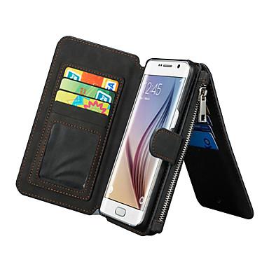 Кейс для Назначение SSamsung Galaxy Samsung Galaxy S7 Edge Бумажник для карт Кошелек со стендом Флип Чехол Сплошной цвет Настоящая кожа