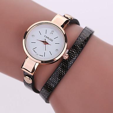아가씨들 패션 시계 팔찌 시계 중공 판화 모조 다이아몬드 석영 PU 밴드 블랙 화이트 블루 레드 브라운 그린 베이지