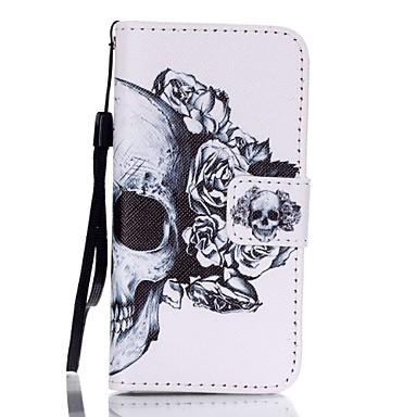 케이스 커버 용 아이폰5케이스 풀 바디 지갑 카드 홀더 스탠드 플립 패턴 해골 하드 인조 가죽 iPhone SE/5s iPhone 5 용