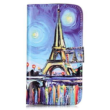 Pouzdro Uyumluluk LG K8 LG LG K10 LG K7 LG G5 Kart Tutucu Cüzdan Satandlı Flip Manyetik Temalı Tam Kaplama Kılıf Eiffel Kulesi Sert PU