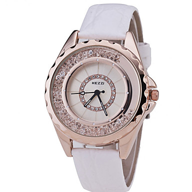 여성용 패션 시계 플로팅 크리스탈 시계 석영 캐쥬얼 시계 가죽 밴드 블랙 화이트 블루 레드 핑크 멀티컬러