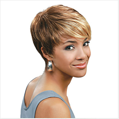 Sentetik Peruklar Düz Sarışın Pixie Cut / Bantlı Sentetik Saç 6 inç Işıltılı / Balyajlı Saç Sarışın / Çoklu-renk Peruk Kadın's Şort Bonesiz Karışık Renk