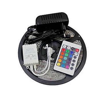 5m RGB Şerit Işıklar 300 LED'ler SMD 2835 1 24Keys Uzaktan Kumanda / 1 x 2A güç adaptörü RGB / Sarı 12 V 1set / IP65