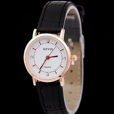 여성용 패션 시계 모조 다이아몬드 시계 석영 캐쥬얼 시계 가죽 밴드 블랙 브라운