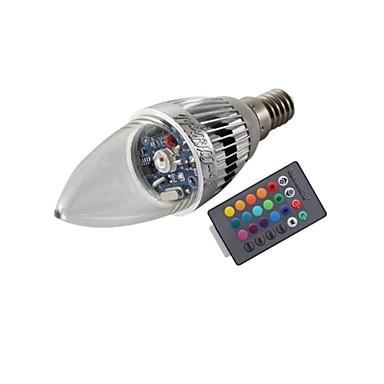 3W E14 Luzes de LED em Vela T 1 leds LED de Alta Potência Controle Remoto Decorativa RGB 200-250lm RGBK AC 85-265V