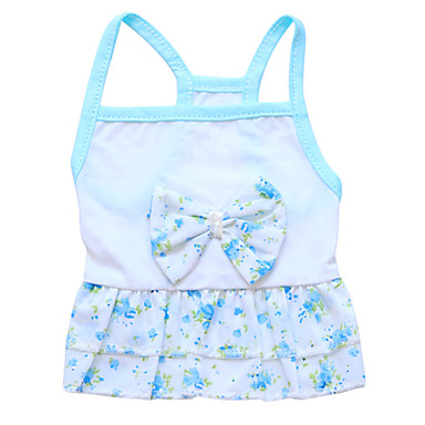 cheap Dog Clothing & Accessories-Cat Dog Dress Dog Clothes Floral / Botanical Blue Cotton Costume For Spring &  Fall Summer Women's Fashion