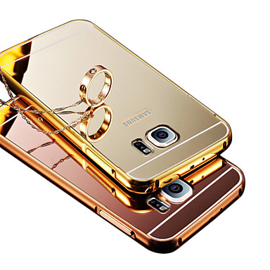 Bling Metal Aluminum Alloy Frame Mirror Acrylic Plastic Back Cover Case For Samsung Galaxy J5/J7/E7/I9060/G530/G7106