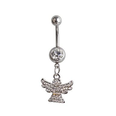 Női Testékszer Navel & Bell Button Rings Luxus Ezüst Hamis gyémánt Szárnyak / Toll Ékszerek Kompatibilitás Parti Napi Hétköznapi