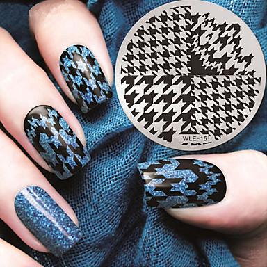 2016 nieuwste versie mode patroon houndstooth nail art afbeelding stempelen template platen