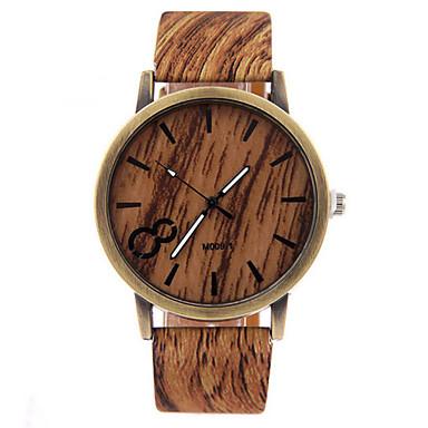 남성용 시계 나무 손목 시계 석영 캐쥬얼 시계 가죽 밴드 참 블랙 화이트