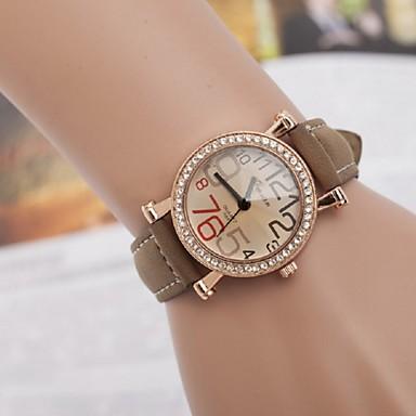 여성용 패션 시계 캐쥬얼 시계 모조 다이아몬드 시계 석영 모조 다이아몬드 가죽 밴드 그린 퍼플 카키