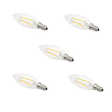 5pcs e14 2w 180lm quente / frio branco de 360 graus edison luz de incandescência levou lâmpada de vela (220v)