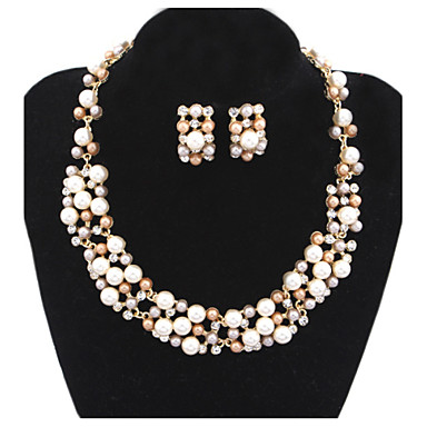 Női Ékszer készlet Nyaklánc / fülbevaló Gyöngy Gyöngyutánzat Arany gyöngy Ötvözet Luxus Menyasszonyi Európai Esküvő Parti Napi Hétköznapi