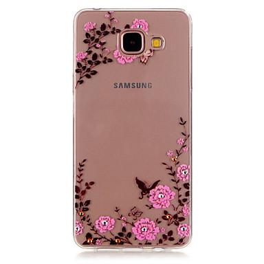 Case Kompatibilitás Samsung Galaxy Samsung Galaxy tok Strassz Átlátszó Minta Fekete tok Virág TPU mert A5(2016) A3(2016)