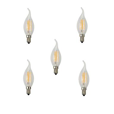 5pcs 4w e14 led gloeilampen ca35 4 hoog vermogen led 360lm warm wit koud wit decoratief ac220-240v