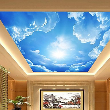 3d shinny leather effect large lobby ceiling mural for Interior design decorative paint effects