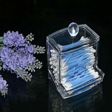 뚜껑 새로운 디자인 명확한 아크릴 면봉 상자 Q-팁 저장 홀더 화장품 메이크업 도구 여성 저장 상자