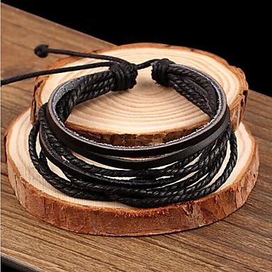 Men's Rivet / Braided Charm Bracelet / Leather Bracelet - Leather Basic, Simple Style, Fashion Bracelet Black For Christmas Gifts / Wedding / Party