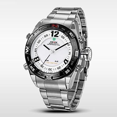 Heren Digitaal horloge Polshorloge Kwarts Digitaal Japanse quartz Alarm Kalender Chronograaf Waterbestendig LED Dubbele tijdzones