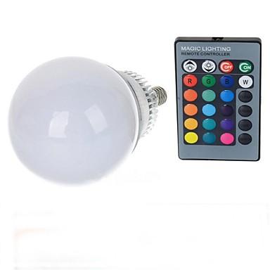 10W lm E14 LED 글로브 전구 A70 1 LED가 고성능 LED 리모컨 작동 RGB AC 85-265V