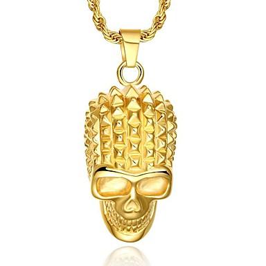Férfi Nyaklánc medálok Függők Nyilatkozat nyakláncok Skull shape Arannyal bevont Személyre szabott Punk Méretes ékszerek Ékszerek