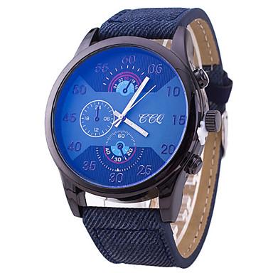 남성용 손목 시계 석영 캐쥬얼 시계 가죽 밴드 블랙 블루 브라운