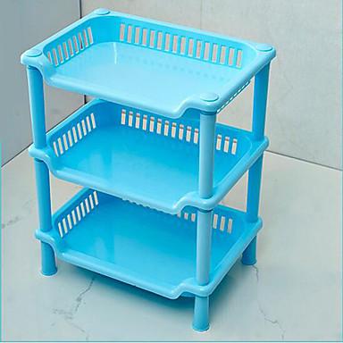 asztali háromrétegű szögletes állvány műanyag konyha fürdőszoba állvány tároló állvány