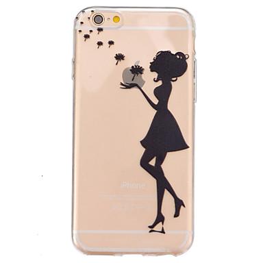 Case Kompatibilitás Apple iPhone 6 iPhone 6 Plus Átlátszó Minta Fekete tok Apple logo Puha TPU mert iPhone 6s Plus iPhone 6s iPhone 6