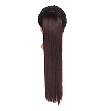 Trança Rabos-de-Cavalo Cabelo Sintético Pedaço de cabelo Alongamento Liso