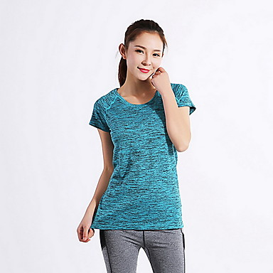 여성용 러닝 티셔츠 통기성 압축 땀 흡수 기능성 소재 탑스 용 운동&피트니스 달리기 블루 S M L XL