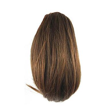 길이 갈색 가발 26cm 합성 직선 고온 와이어 그리퍼 작은 포니 테일 색상 2009