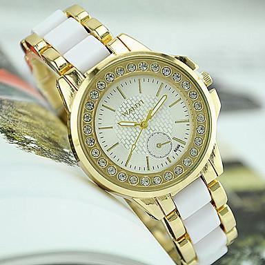 여성용 석영 모조 다이아몬드 시계 모조 다이아몬드 스테인레스 스틸 밴드 참 패션 블랙 화이트