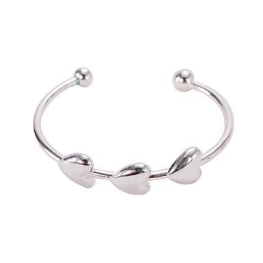 Férfi Női Karperecek Bilincs karkötők Silver Bracelets Ötvözet Heart Shape Szerelem Ezüst Ékszerek 1db