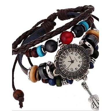 아가씨들 패션 시계 팔찌 시계 디지털 가죽 밴드 보헤미안 브라운
