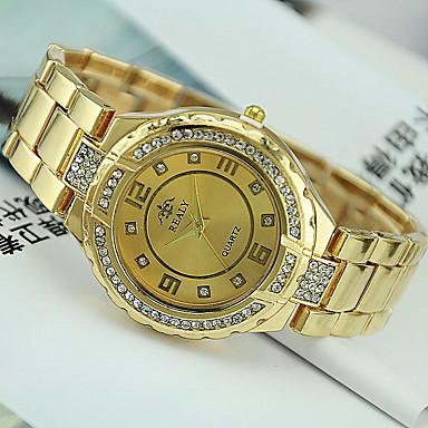 여성용 패션 시계 모조 다이아몬드 시계 석영 스테인레스 스틸 밴드 실버 골드