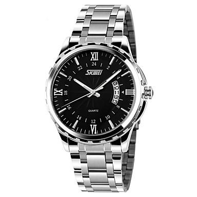 זול שעוני גברים-SKMEI בגדי ריקוד גברים שעון יד קווארץ מתכת אל חלד כסף 30 m עמיד במים לוח שנה אנלוגי קסם קלסי - זהב לבן לבן שחור לבן /  כחול