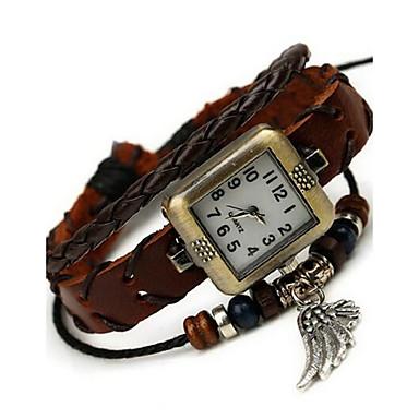 여성용 패션 시계 팔찌 시계 디지털 가죽 밴드 보헤미안 브라운
