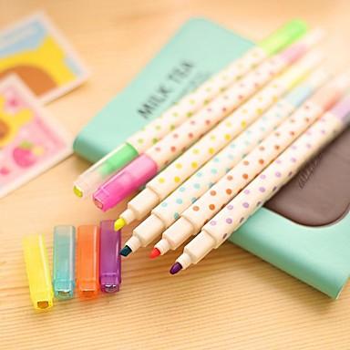 마커 & 하이 라이터 펜 하이 라이터 펜, 플라스틱 블루 옐로우 퍼플 오렌지 그린 잉크 색상 For 학용품 사무용품 팩