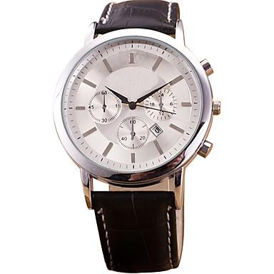 남성 드레스 시계 패션 시계 손목 시계 캐쥬얼 시계 석영 가죽 밴드 멋진 블랙 브라운