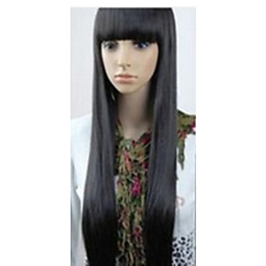 Synthetische Perücken Damen Glatt Schwarz Mit Pony Synthetische Haare 10 Zoll Schwarz Perücke Sehr lang Kappenlos Schwarz hairjoy
