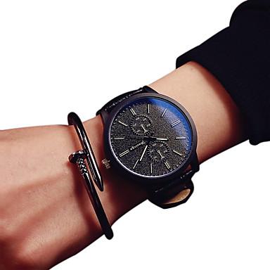 커플용 패션 시계 석영 캐쥬얼 시계 PU 밴드 블랙