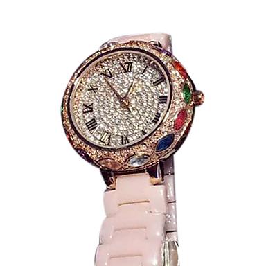 여성용 패션 시계 페이브 시계 석영 일본 쿼츠 캐쥬얼 시계 세라믹 밴드 스파클 로즈 골드