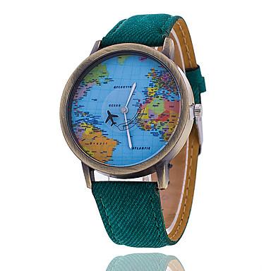 남성용 손목 시계 석영 캐쥬얼 시계 섬유 밴드 세계지도 패턴 블랙 화이트