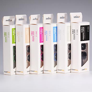 3 az 1-klip 0,36 × nagylátószögű + 180 ° halszem + 15 × makró lencse szett mobiltelefon arany / ezüst / fekete / kék / rózsaszín / zöld