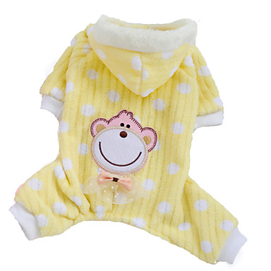 cheap Dog Clothing & Accessories-Dog Hoodie Pajamas Dog Clothes Polka Dot Yellow Pink Polar Fleece Costume For Winter