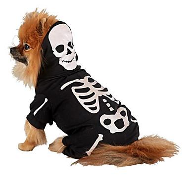 고양이 강아지 코스츔 의상 점프 수트 강아지 의류 코스프레 할로윈 해골 화이트 골든