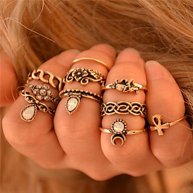 Női Elefánt / Virág Ujjperc gyűrű - Állat Személyre szabott / Vintage / Bohém Ezüst / Aranyozott Gyűrű Kompatibilitás Esküvő / Parti /