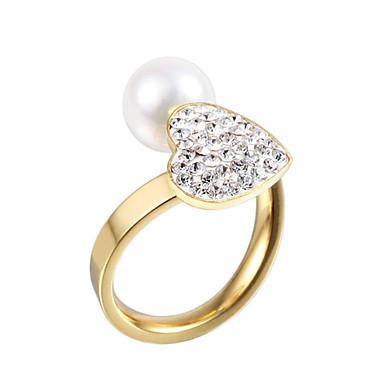 Karikagyűrűk Gyöngy utánzat Diamond Duplarétegű Crossover Divat Állítható Imádni való Születési kövek Ezüst Aranyozott ÉkszerekEsküvő