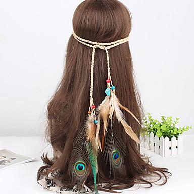 여성의 웨스턴 스타일의 깃털 구슬 머리띠 1 조각을 짜